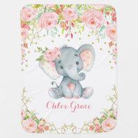 Chic Pink Flower Elephant Nursery Baby Blanket