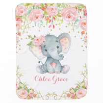 Chic Pink Flower Elephant Nursery Baby Blanket