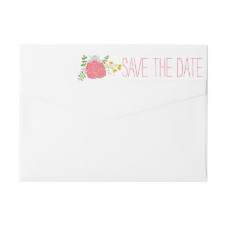 Chic Pink Flower Green Leaves Save The Date Wrap Around Label