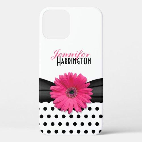 Chic Pink Gerbera Daisy Polka Dot Flower Phone Case