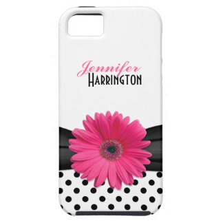 Chic Pink Gerbera Daisy Polka Dot iPhone 5 Case