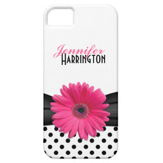 Chic Pink Gerbera Daisy Polka Dot iPhone 5 Cases