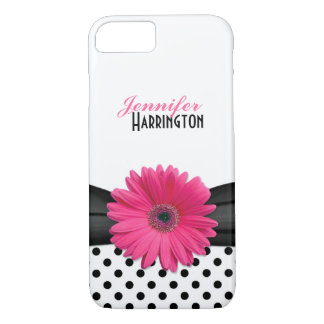 Chic Pink Gerbera Daisy Polka Dot iPhone 7 Case