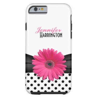 Chic Pink Gerbera Daisy Polka Dot Tough iPhone 6 Case