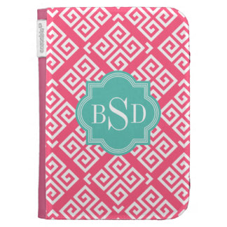 Chic pink girly greek key patterns monogram kindle keyboard cases