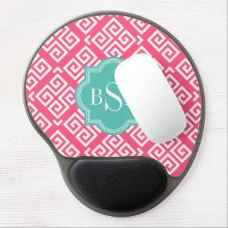 Chic pink girly greek key patterns monogram gel mouse pad