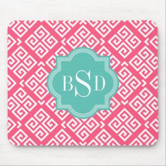 Chic pink girly greek key patterns monogram mousepads
