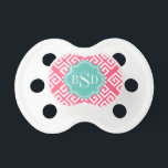 """Chic pink girly greek key patterns monogram pacifier<br><div class=""""desc"""">Chic cute modern elegant stylish girly greek key pink and green geometric abstract pattern design, the cute contemporary modern Greek key abstract geometric pattern in pink and green give this clean design a contemporary and classic look. Cool unique gifts for her. Custom the personalized monogram with your own initials or...</div>"""