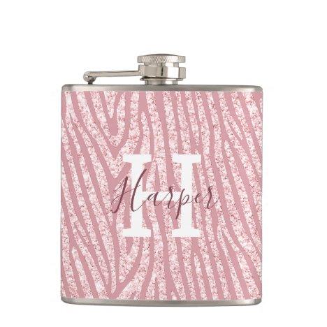 Chic Pink Glitter Zebra Custom Monogram Flask