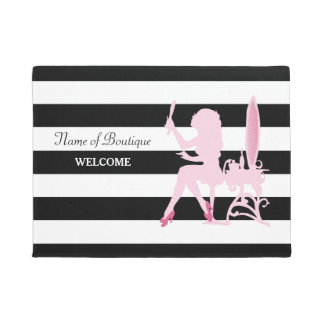 Chic Pink Glitz Girl Black Stripes Hair Boutique Doormat