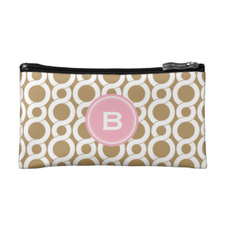 Chic pink gold abstract geometric pattern monogram cosmetic bag