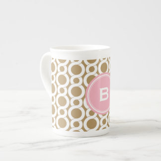 Chic pink gold abstract geometric pattern monogram bone china mug