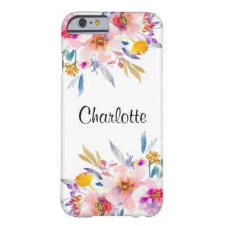 Chic Pink Gold Floral Watercolor iPhone 6 Case