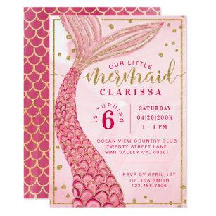 Chic Pink Gold Little Mermaid Birthday Invitation
