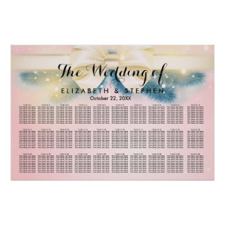 Chic Pink Gold Ribbon Pines Wedding Seating Chart