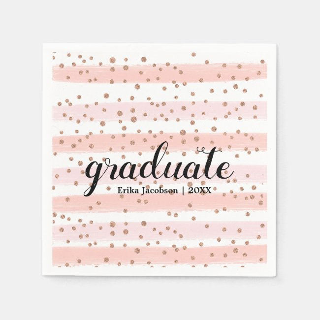 Chic Pink & Gold Striped Graduate Party Napkins