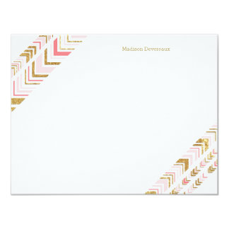 """Chic Pink & Gold Tribal Custom Flat Note Cards 4.25"""" X 5.5"""" Invitation Card"""