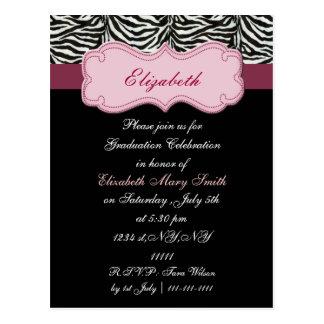 chic pink Graduation party Invitation Postcard