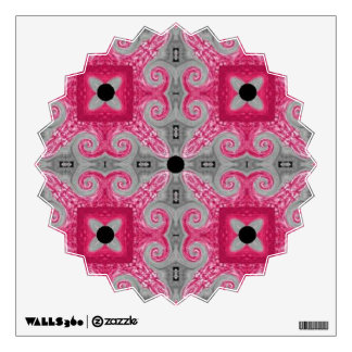 Chic Pink-Gray-Faux Leather Star Burst Decal