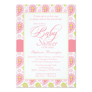Chic pink + green paisley baby shower invitation