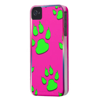 Chic Pink Green Paws Imprint Iphone 4/4S Case