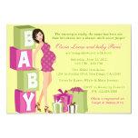 Chic Pink Green Polka Dot Modern Mom Baby Shower Announcement