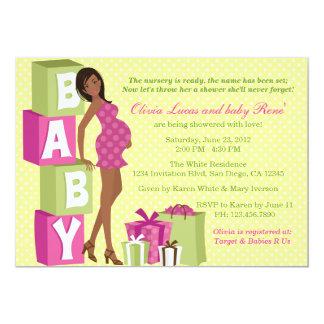 Chic Pink Green Polka Dot Modern Mom Baby Shower 5x7 Paper Invitation Card