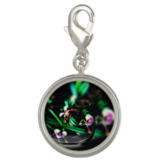 Chic Pink Green Slipper Orchids Overlay Design Charms