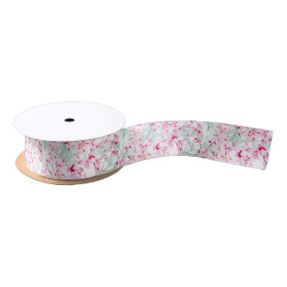 Chic pink green watercolor lilies floral pattern blank ribbon