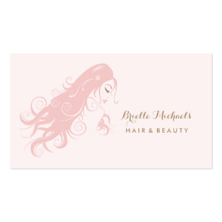 Chic Pink Hairstylist Woman With Long Flowing Hair Business Card