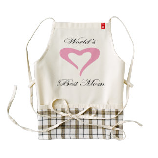 Chic Pink Heart | World's Best Mom Zazzle HEART Apron
