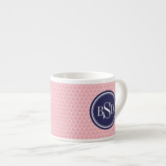 Chic pink interlocking triangles pattern monogram espresso cup
