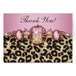 Chic pink Leopard Thank You Cards