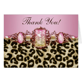 Chic pink Leopard Thank You Cards Greeting Card