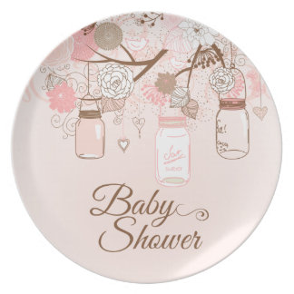 Chic pink mason jar floral baby girl shower plate