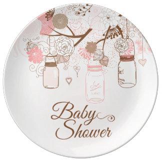 Chic pink mason jar floral baby girl shower plate porcelain plates