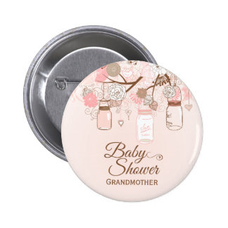 Chic pink mason jar floral baby shower button