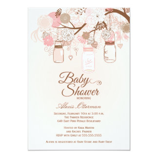 Chic pink mason jar floral baby shower invitation