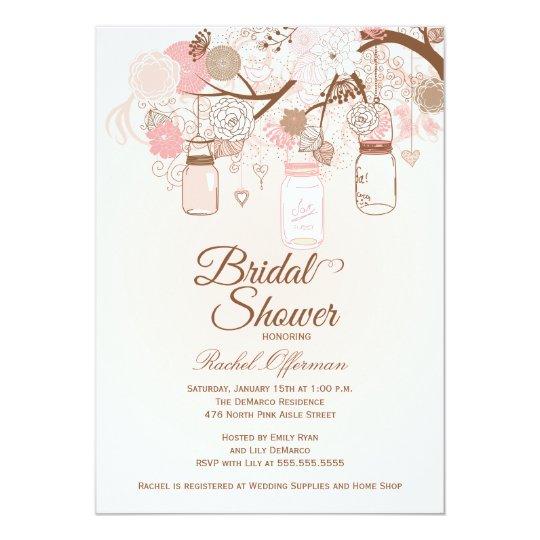 Chic pink mason jar floral bridal shower invite