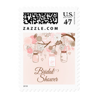 Chic pink mason jar floral bridal shower stamps