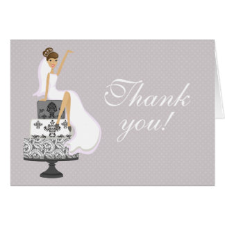 Chic Pink Modern Bride Bridal Shower Thank You Card