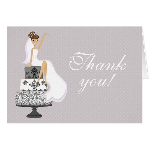 Chic Pink Modern Bride Bridal Shower Thank You Cards