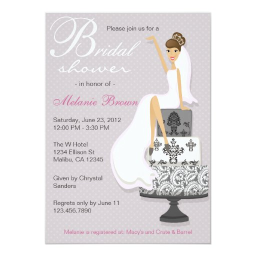 Chic pink modern bride contemporary bridal shower 5 x 7 for Modern bridal shower invitations
