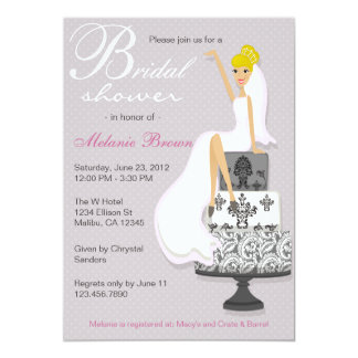 Chic Pink Modern Bride Contemporary Bridal Shower Personalized Invites