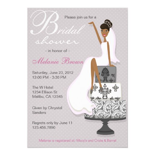 Chic Pink Modern Bride Contemporary Bridal Shower Invitation