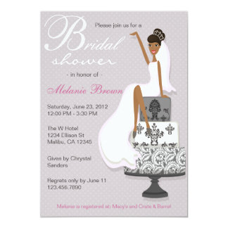 Chic Pink Modern Bride Contemporary Bridal Shower 5x7 Paper Invitation Card