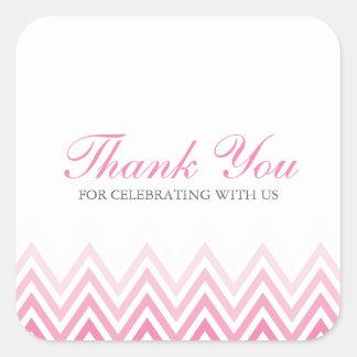 Chic Pink Ombre Chevrons Square Sticker