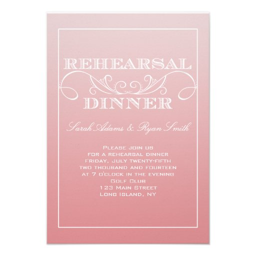 CHIC PINK OMBRE REHEARSAL DINNER INVITATIONS