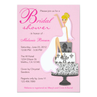 Chic Pink on Pink Modern Bride Bridal Shower Personalized Announcement
