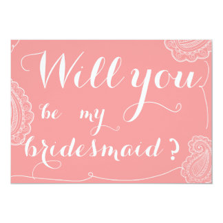 "Chic Pink Paisley Will You Be My Bridesmaid 5"" X 7"" Invitation Card"